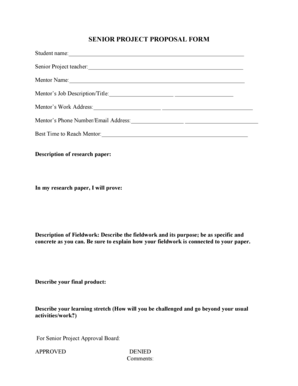 Fillable Online SENIOR PROJECT PROPOSAL FORM Fax Email