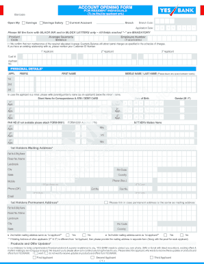 Fillable Online Yesbank Account Opening Form For Resident Individuals To Be Filled By Applicant Only Barcode Open My Savings Savings Salary Current Account Branch Code Branch D Application Date D M M Y Y Y Y