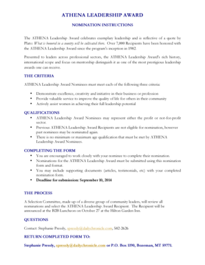 Fillable Online ATHENA Leadership Award Nomination Form