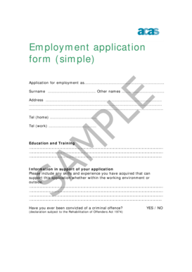 Fillable Online Employment application form (simple