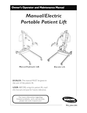 Fillable Online Manual/Electric Portable Patient Lift