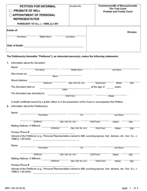 Fillable Online PETITION FOR INFORMAL PROBATE OF WILL