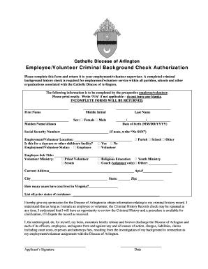 Fillable Online arlingtondiocese Background Check Release Form ...