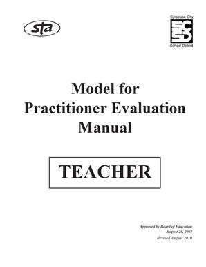 Fillable Online Model for Practitioner Evaluation Manual