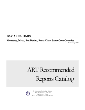 Fillable Online ART Recommended Reports Catalog