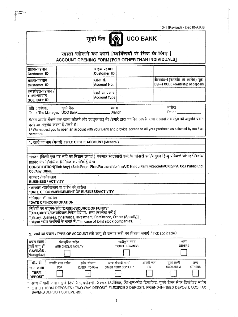 Uco Bank Account Opening Form Pdf Fill Online Printable Fillable Blank Pdffiller