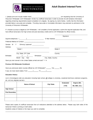 Fillable Online uww Request for Tentative Application