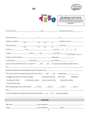 Fillable Online 201 New Staff Application Please mail