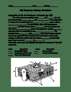 Fillable Online dentonisd Cell Membrane Coloring Worksheet