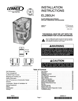 Fillable Online EL280UH Two-Stage Gas Furnace Installation