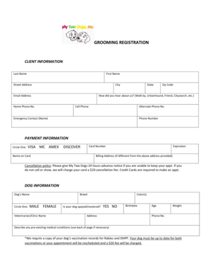 Fillable Online GROOMING REGISTRATION Fax Email Print