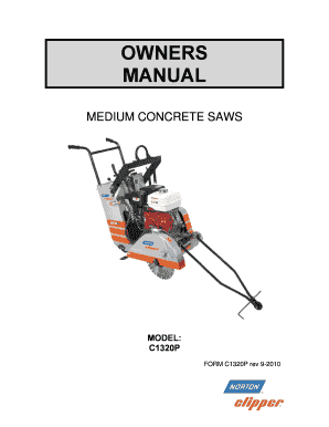 Fillable Online OWNERS MANUAL MEDIUM CONCRETE SAWS MODEL