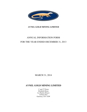 Fillable Online AVNEL GOLD MINING LIMITED Fax Email Print