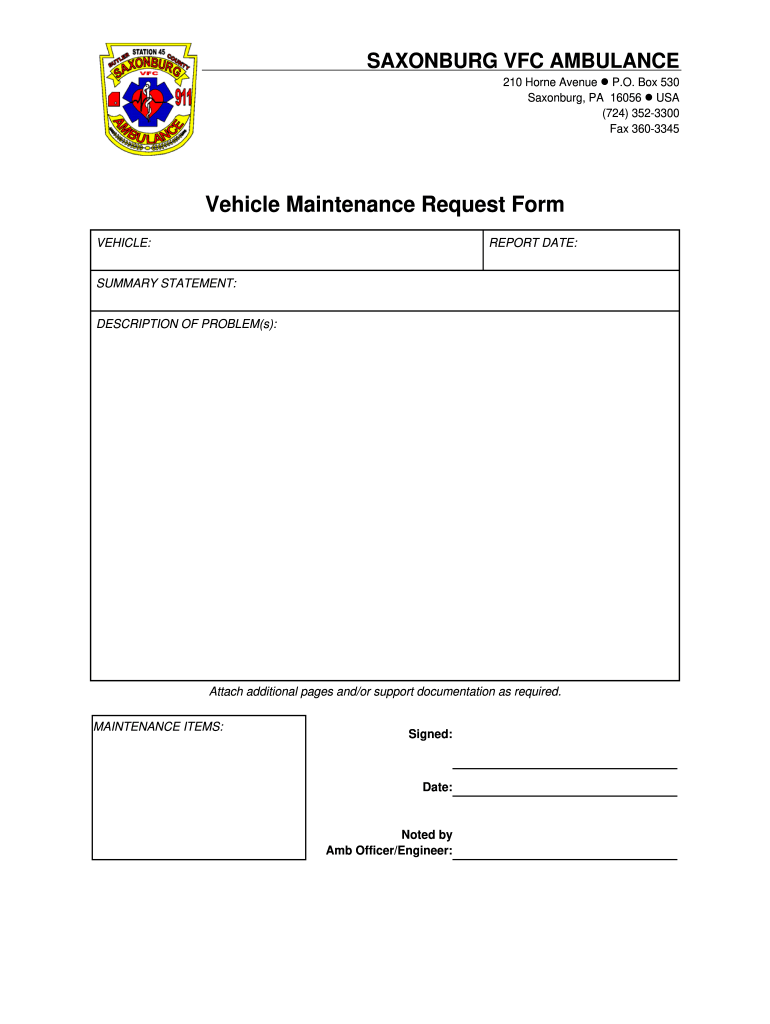 26/01/2021· building maintenance work order request form. Pa Svfc Vehicle Maintenance Request Form Fill And Sign Printable Template Online Us Legal Forms