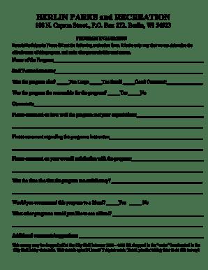 Fillable Online Program Evaluation Survey.doc Fax Email