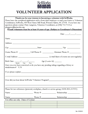 NEW BACKGROUND CHECK RELEASE FORM FOR VOLUNTEERS
