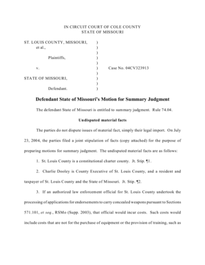 Fillable Online Defendant State of Missouri's Motion for
