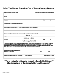 Nc Out Of State Dealer Tax Exempt Form