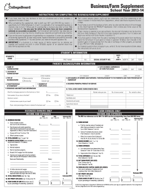2013-2019 College Board Business/Farm Supplement Form Fill