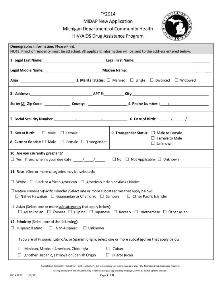 2014-2019 MI MIDAP Application Form Fill Online, Printable