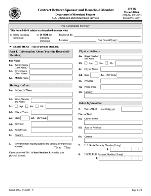 2015 Form USCIS I-864A Fill Online, Printable, Fillable
