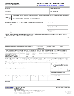 20132019 Form DoJ USM285 Fill Online Printable Fillable Blank  PDFfiller