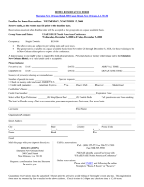 Fillable Online usaee HOTEL RESERVATION FORM Sheraton New