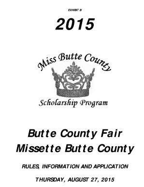 Fillable Online buttecountyfair Miss Missette Butte County