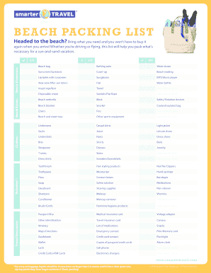 Fillable Online The Ultimate Family Beach Vacation Packing List Traveling Fax Email Print Pdffiller