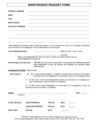 Fillable Online MAINTENANCE REQUEST FORM - Timms Real ...