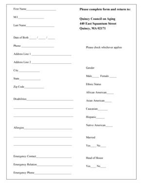 Fillable Online quincyma Please complete form and return