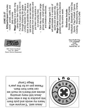 Fillable Online Mega camp brochure & child registration