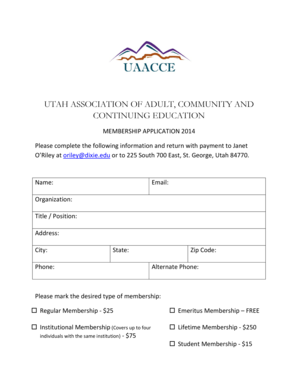 Fillable Online uaacce UTAH ASSOCIATION OF ADULT