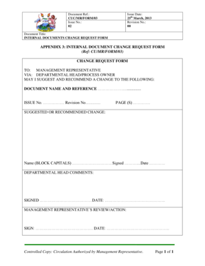 21 Printable document change request form iso 9001