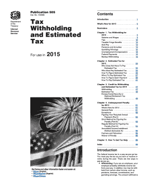 Fillable Online irs 2015 Publication 505. Tax Withholding