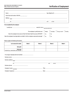 Nys Department Of Health Verification Of Employment Form