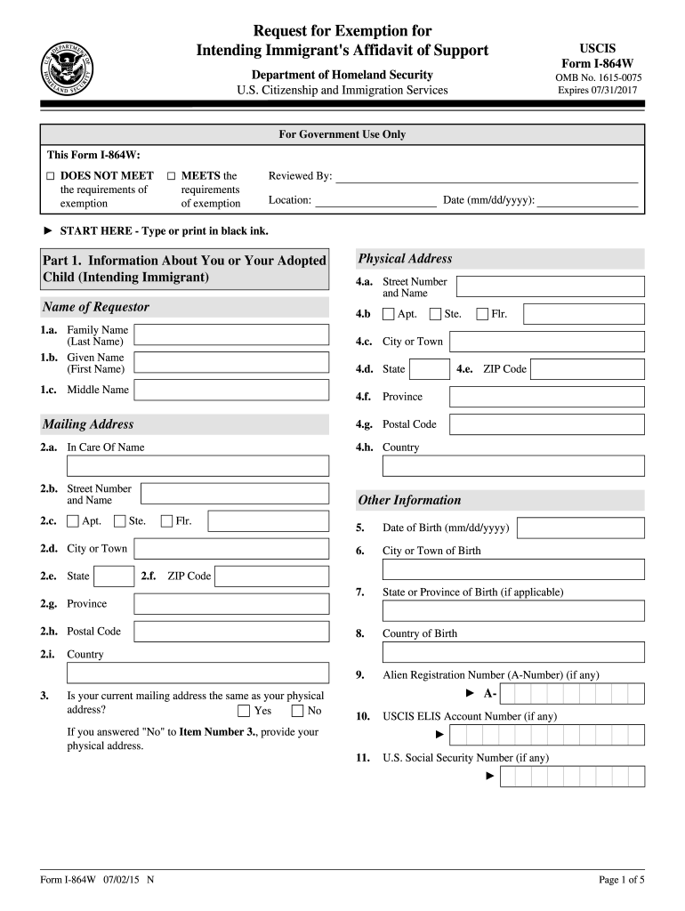 2015 Form USCIS I-864W Fill Online, Printable, Fillable