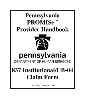 Fillable Online 837 Institutional/UB-04 Claim Form Fax
