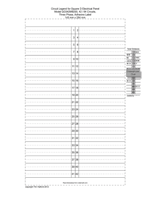 Breaker Box Directory Template  Fill Online, Printable, Fillable, Blank | PDFfiller