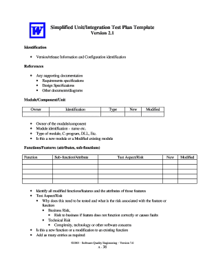 Specify any infrastructure or logistical requirements. Fillable Online Simplified Unit Integration Test Plan Template Fax Email Print Pdffiller