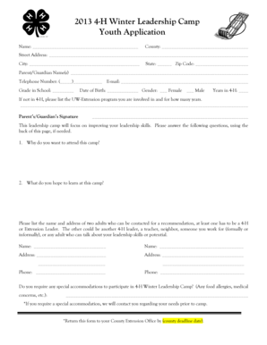 Fillable Online Final Youth Application Fax Email Print