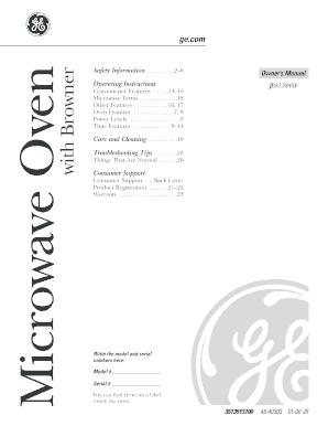 ge microwave browner manual fill online printable fillable blank pdffiller