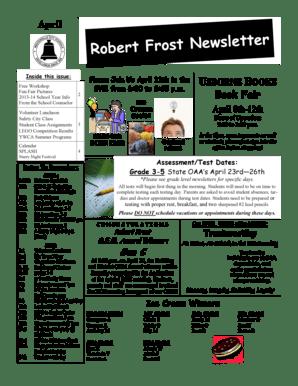 Fillable Online Robert Frost Newsletter April