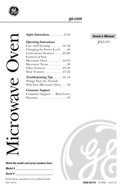 Fillable Online 49-40562. GE Microwave Oven Owner's Manual