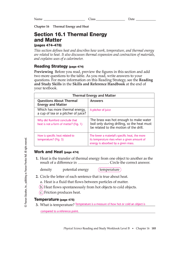 medium resolution of Section 16 1 Thermal Energy And Matter - Fill Online