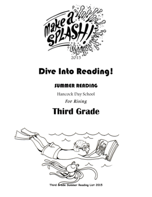 Fillable Online hancockdayschool Dive Into Reading! Third