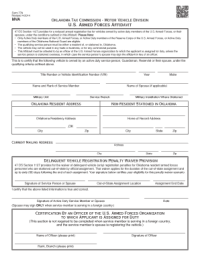 Bill Of Sale Form Oklahoma U.s. Armed Forces Affidavit ...