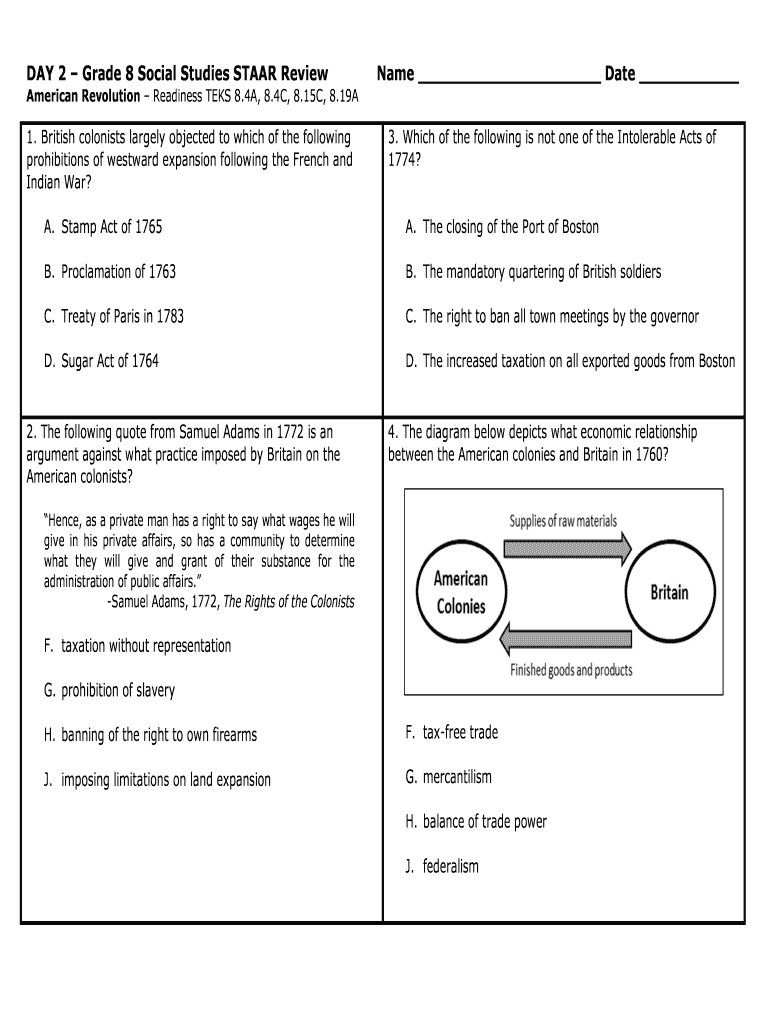 hight resolution of 8th Grade Social Studies Review Packet Pdf - Fill Online