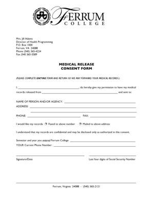 Complete Fillable 11 Sample Medical Release Forms Forms
