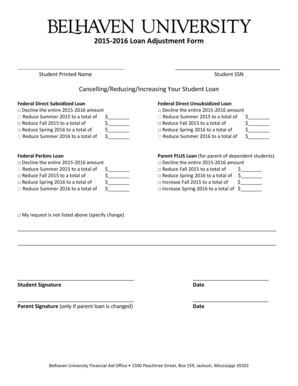 Fillable Online belhaven 20152016 Loan Adjustment Form